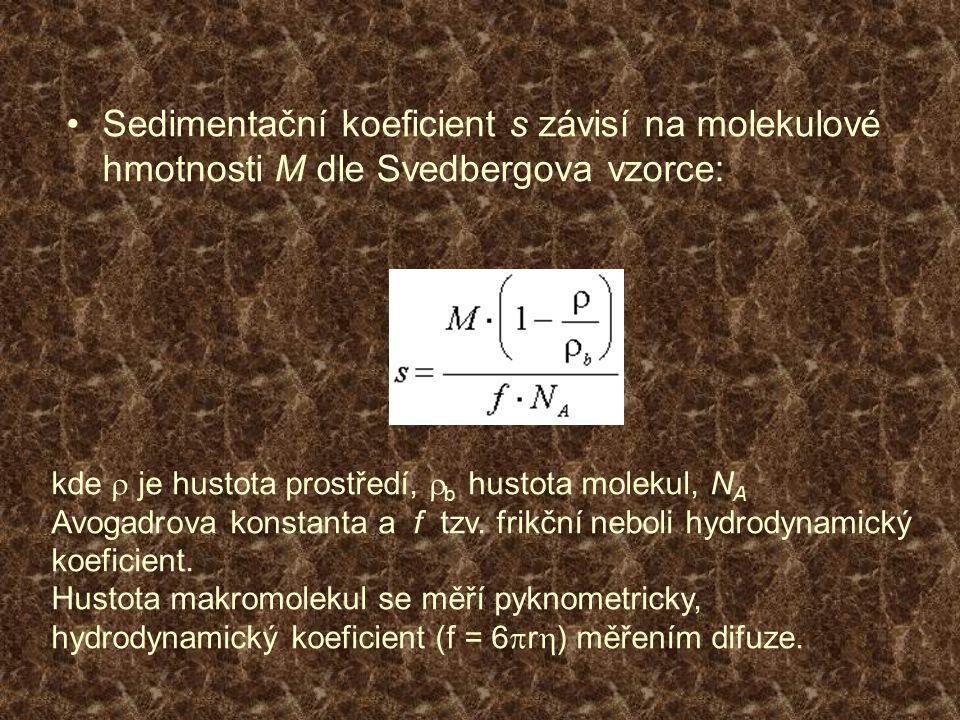 Sedimentační koeficient s závisí na molekulové hmotnosti M dle Svedbergova vzorce: kde  je hustota prostředí,  b hustota molekul, N A Avogadrova kon