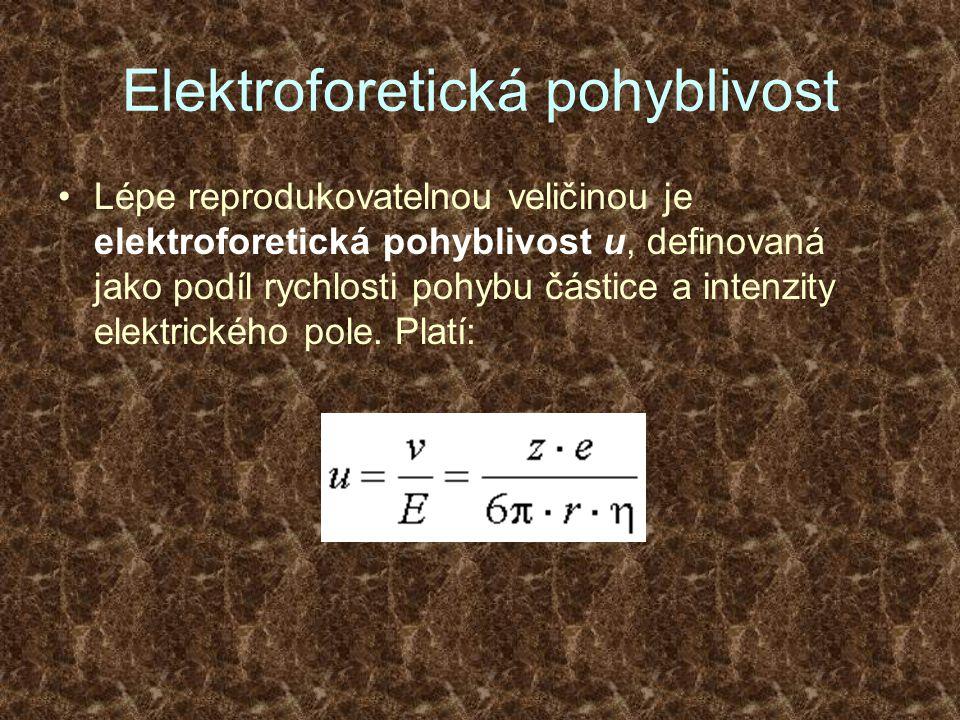 Elektroforetická pohyblivost Lépe reprodukovatelnou veličinou je elektroforetická pohyblivost u, definovaná jako podíl rychlosti pohybu částice a inte