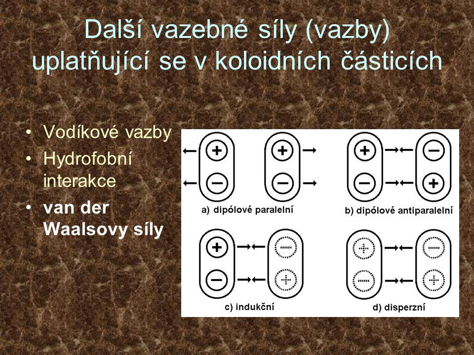 Další vazebné síly (vazby) uplatňující se v koloidních částicích Vodíkové vazby Hydrofobní interakce van der Waalsovy síly