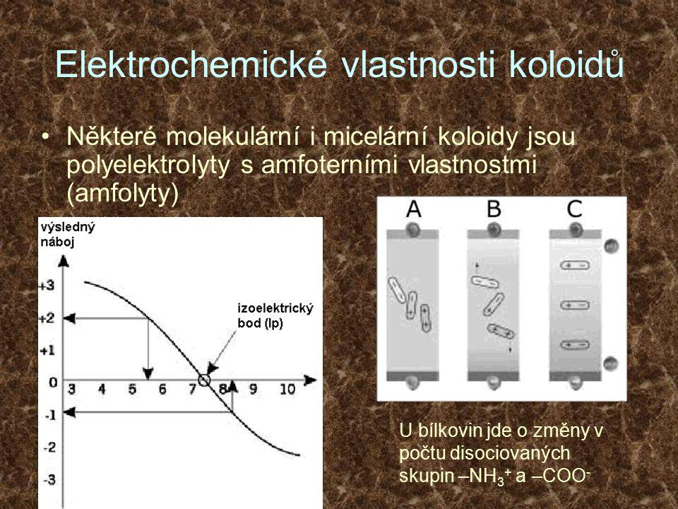 Elektrochemické vlastnosti koloidů Některé molekulární i micelární koloidy jsou polyelektrolyty s amfoterními vlastnostmi (amfolyty) U bílkovin jde o