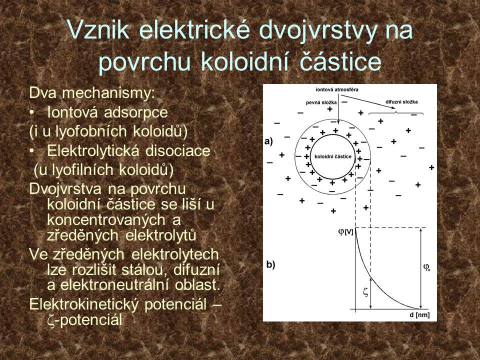 Vznik elektrické dvojvrstvy na povrchu koloidní částice Dva mechanismy: Iontová adsorpce (i u lyofobních koloidů) Elektrolytická disociace (u lyofilní