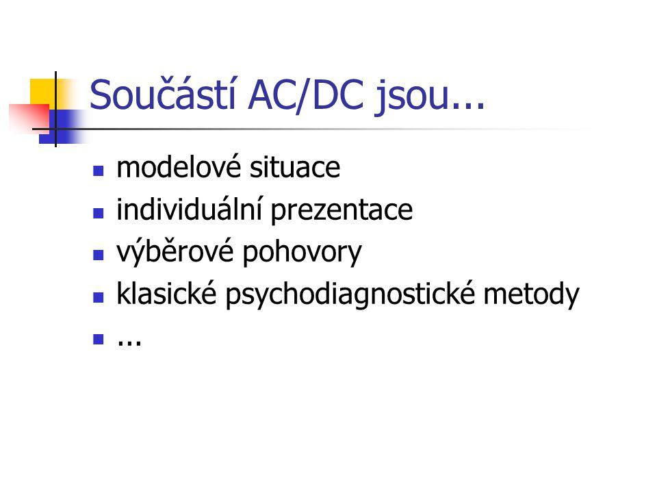 Součástí AC/DC jsou... modelové situace individuální prezentace výběrové pohovory klasické psychodiagnostické metody...