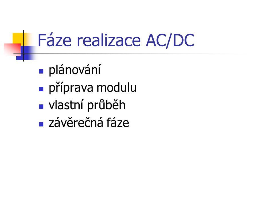 Fáze realizace AC/DC plánování příprava modulu vlastní průběh závěrečná fáze