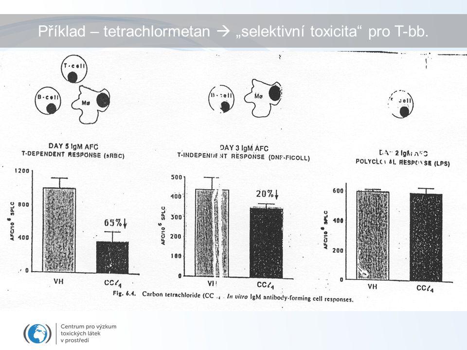 """Příklad – tetrachlormetan  """"selektivní toxicita pro T-bb."""