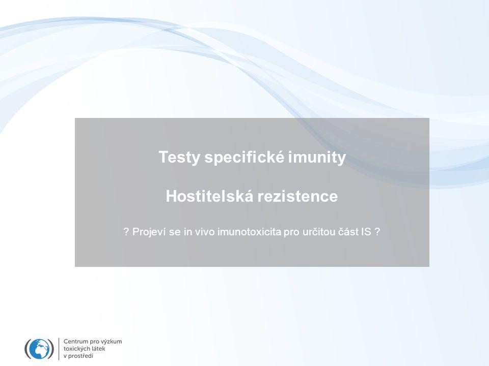 Testy specifické imunity Hostitelská rezistence ? Projeví se in vivo imunotoxicita pro určitou část IS ?