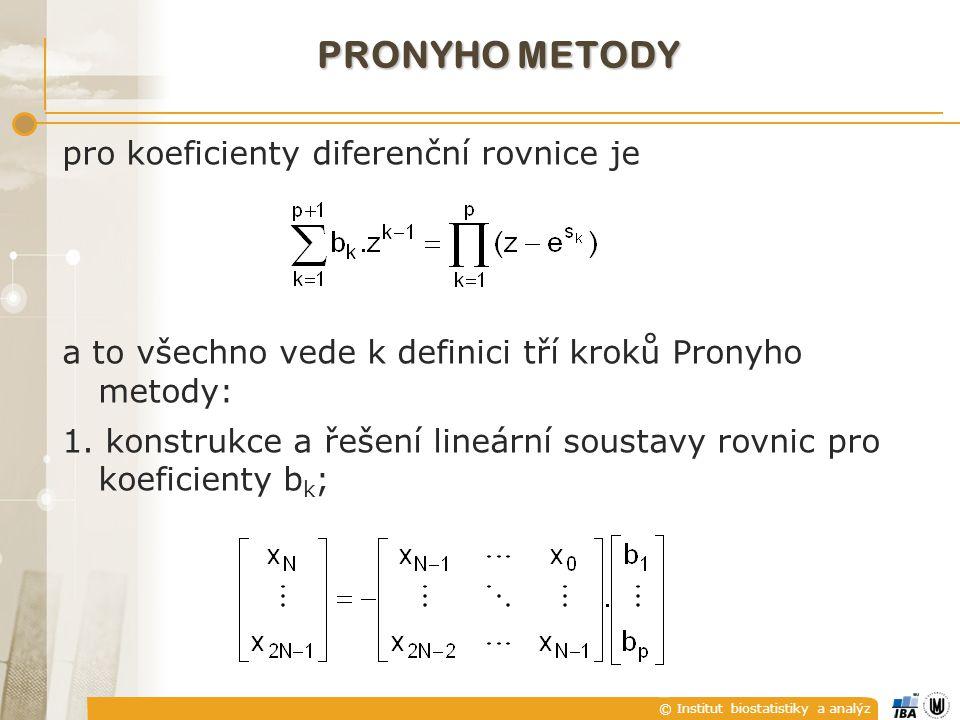 © Institut biostatistiky a analýz pro koeficienty diferenční rovnice je a to všechno vede k definici tří kroků Pronyho metody: 1.