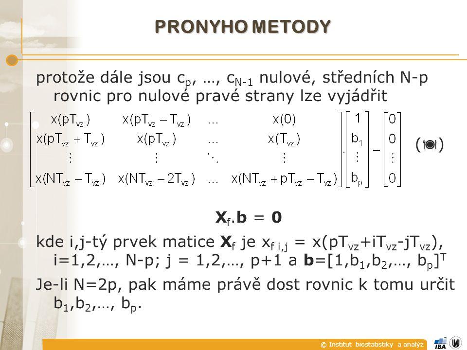 © Institut biostatistiky a analýz protože dále jsou c p, …, c N-1 nulové, středních N-p rovnic pro nulové pravé strany lze vyjádřit (  ) X f.b = 0 kde i,j-tý prvek matice X f je x f i,j = x(pT vz +iT vz -jT vz ), i=1,2,…, N-p; j = 1,2,…, p+1 a b=[1,b 1,b 2,…, b p ] T Je-li N=2p, pak máme právě dost rovnic k tomu určit b 1,b 2,…, b p.