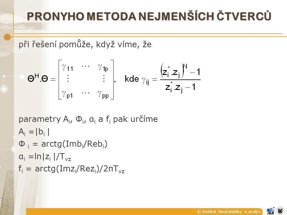 © Institut biostatistiky a analýz při řešení pomůže, když víme, že parametry A i, Φ i, α i a f i pak určíme A i =|b i | Φ i = arctg(Imb i /Reb i ) α i =ln|z i |/T vz f i = arctg(Imz i /Rez i )/2πT vz PRONYHO METODA NEJMENŠÍCH Č TVERC Ů