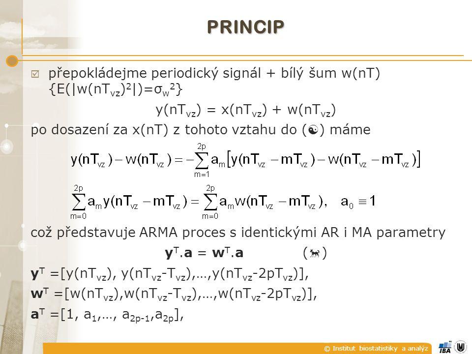 © Institut biostatistiky a analýz PRINCIP  přepokládejme periodický signál + bílý šum w(nT) {E(|w(nT vz ) 2 |)=σ w 2 } y(nT vz ) = x(nT vz ) + w(nT vz ) po dosazení za x(nT) z tohoto vztahu do (  ) máme což představuje ARMA proces s identickými AR i MA parametry y T.a = w T.a (  ) y T =[y(nT vz ), y(nT vz -T vz ),…,y(nT vz -2pT vz )], w T =[w(nT vz ),w(nT vz -T vz ),…,w(nT vz -2pT vz )], a T =[1, a 1,…, a 2p-1,a 2p ],