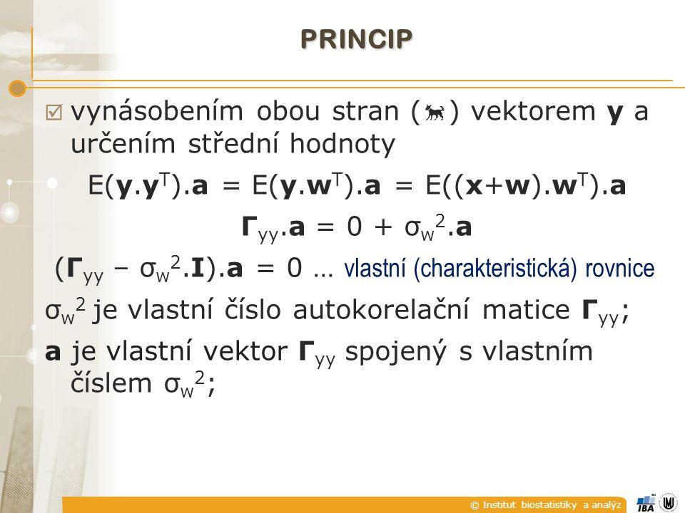 © Institut biostatistiky a analýz PRINCIP  vynásobením obou stran (  ) vektorem y a určením střední hodnoty E(y.y T ).a = E(y.w T ).a = E((x+w).w T ).a Γ yy.a = 0 + σ w 2.a (Γ yy – σ w 2.I).a = 0 … vlastní (charakteristická) rovnice σ w 2 je vlastní číslo autokorelační matice Γ yy ; a je vlastní vektor Γ yy spojený s vlastním číslem σ w 2 ;