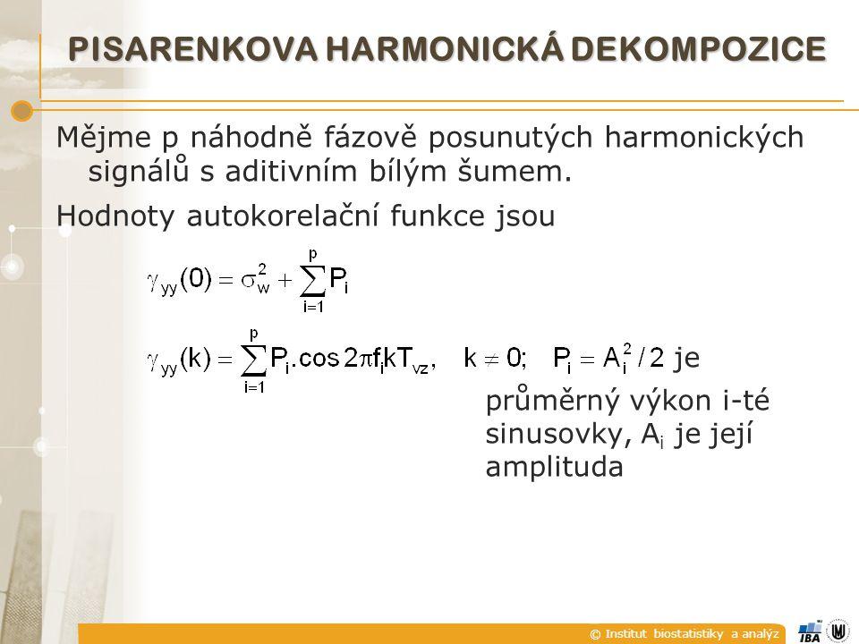 © Institut biostatistiky a analýz PISARENKOVA HARMONICKÁ DEKOMPOZICE Mějme p náhodně fázově posunutých harmonických signálů s aditivním bílým šumem.