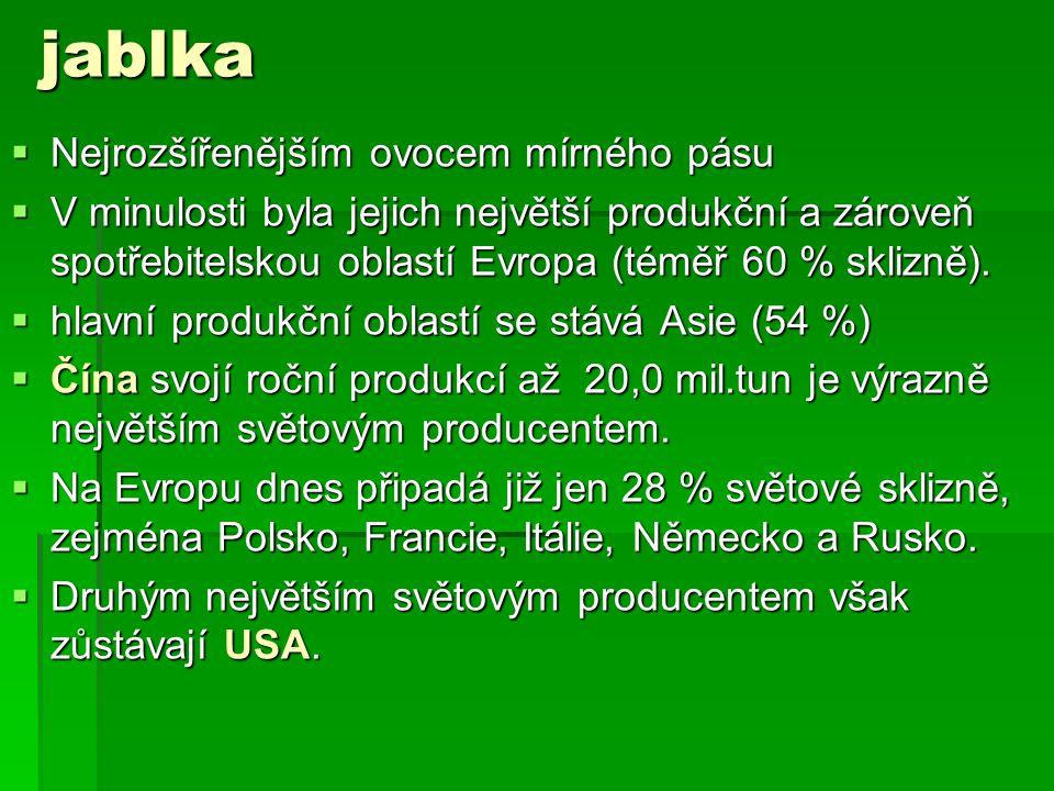 jablka  Nejrozšířenějším ovocem mírného pásu  V minulosti byla jejich největší produkční a zároveň spotřebitelskou oblastí Evropa (téměř 60 % sklizně).