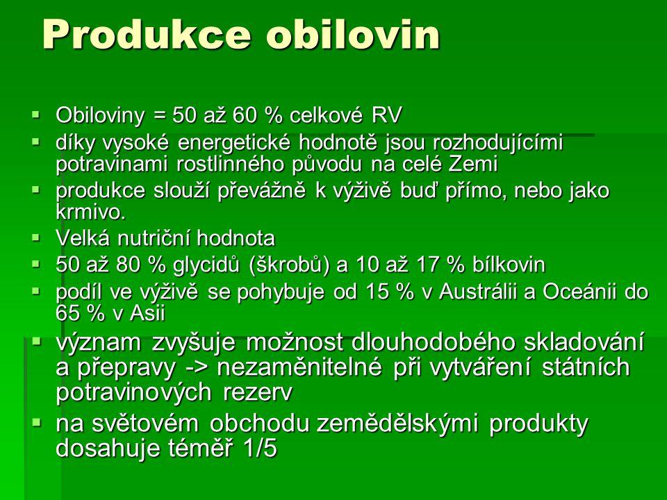 Produkce obilovin  Obiloviny = 50 až 60 % celkové RV  díky vysoké energetické hodnotě jsou rozhodujícími potravinami rostlinného původu na celé Zemi  produkce slouží převážně k výživě buď přímo, nebo jako krmivo.