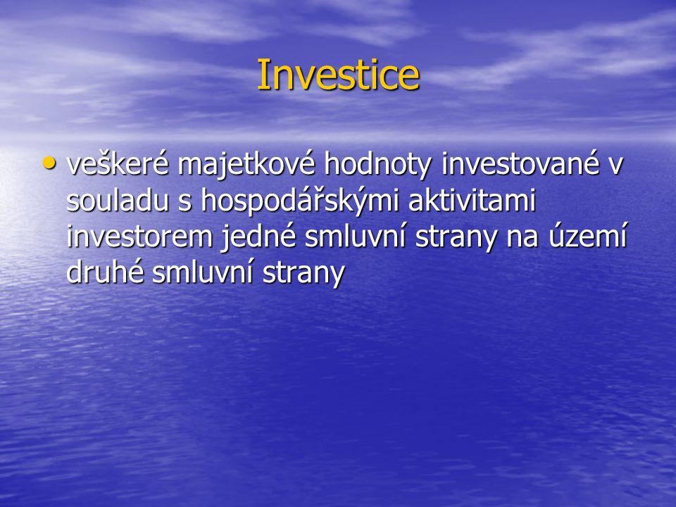 Investice veškeré majetkové hodnoty investované v souladu s hospodářskými aktivitami investorem jedné smluvní strany na území druhé smluvní strany veškeré majetkové hodnoty investované v souladu s hospodářskými aktivitami investorem jedné smluvní strany na území druhé smluvní strany