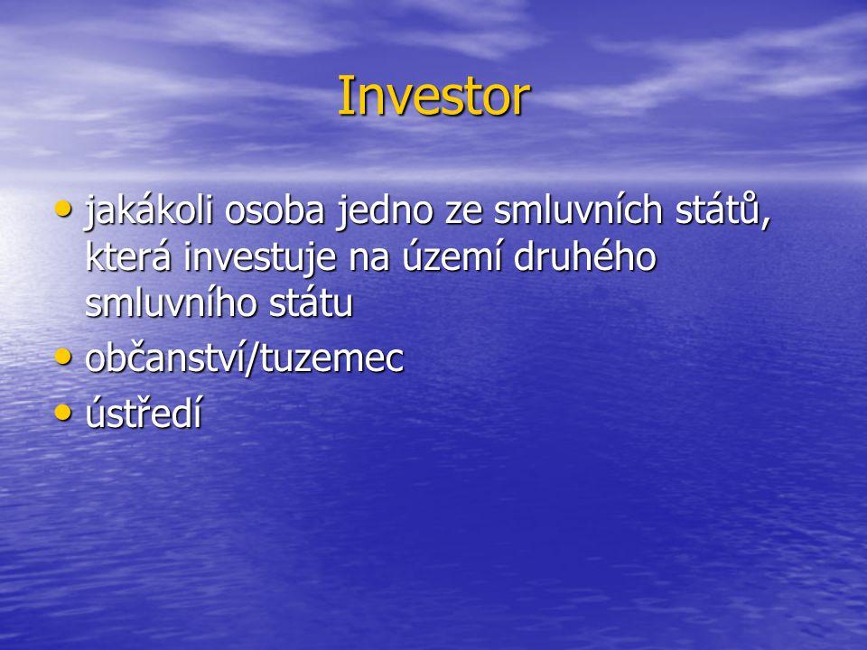 Investor jakákoli osoba jedno ze smluvních států, která investuje na území druhého smluvního státu jakákoli osoba jedno ze smluvních států, která investuje na území druhého smluvního státu občanství/tuzemec občanství/tuzemec ústředí ústředí