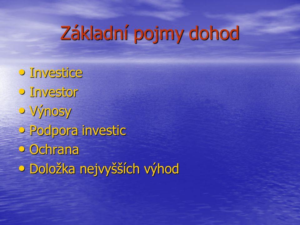 Základní pojmy dohod Investice Investice Investor Investor Výnosy Výnosy Podpora investic Podpora investic Ochrana Ochrana Doložka nejvyšších výhod Doložka nejvyšších výhod