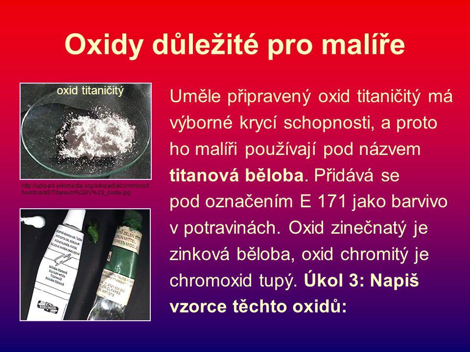 Oxidy důležité pro malíře Uměle připravený oxid titaničitý má výborné krycí schopnosti, a proto ho malíři používají pod názvem titanová běloba.