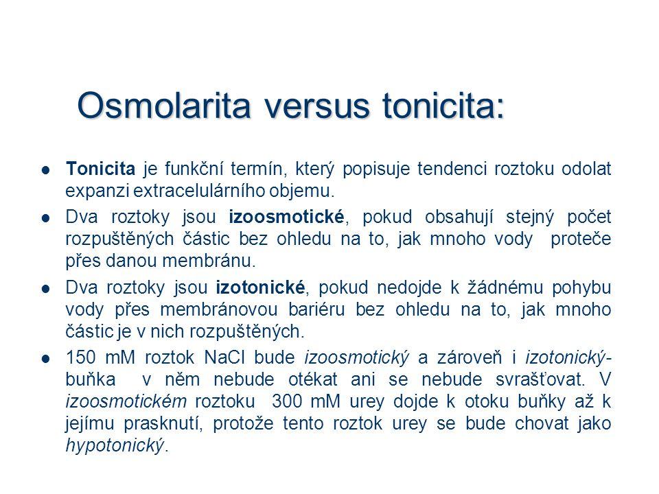 Osmolarita versus tonicita: Tonicita je funkční termín, který popisuje tendenci roztoku odolat expanzi extracelulárního objemu. Dva roztoky jsou izoos