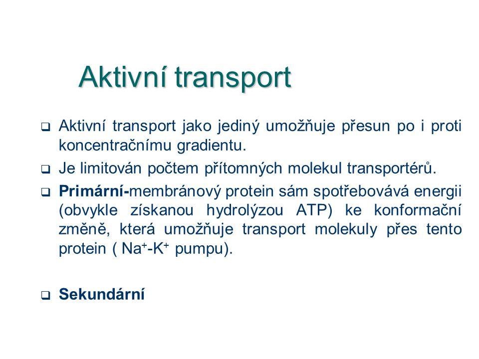 Aktivní transport  Aktivní transport jako jediný umožňuje přesun po i proti koncentračnímu gradientu.  Je limitován počtem přítomných molekul transp