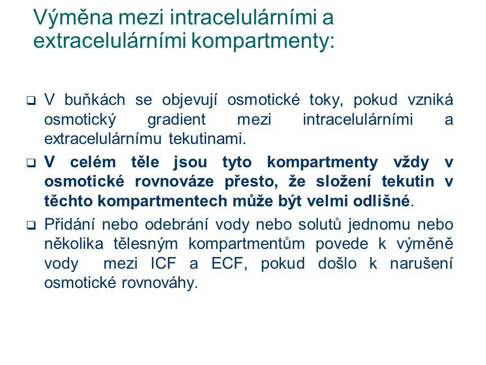 Výměna mezi intracelulárními a extracelulárními kompartmenty:  V buňkách se objevují osmotické toky, pokud vzniká osmotický gradient mezi intracelulá