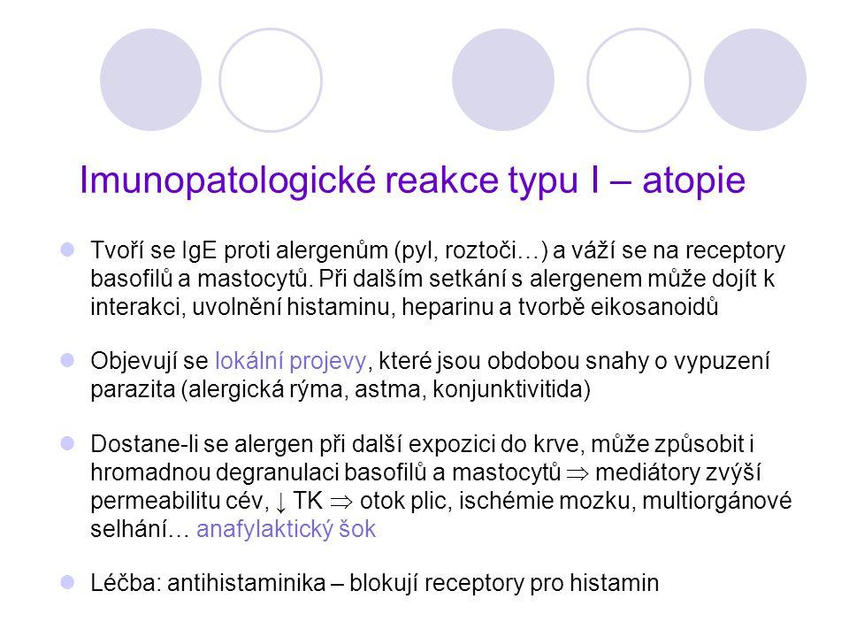 Imunopatologické reakce typu I – atopie Tvoří se IgE proti alergenům (pyl, roztoči…) a váží se na receptory basofilů a mastocytů. Při dalším setkání s