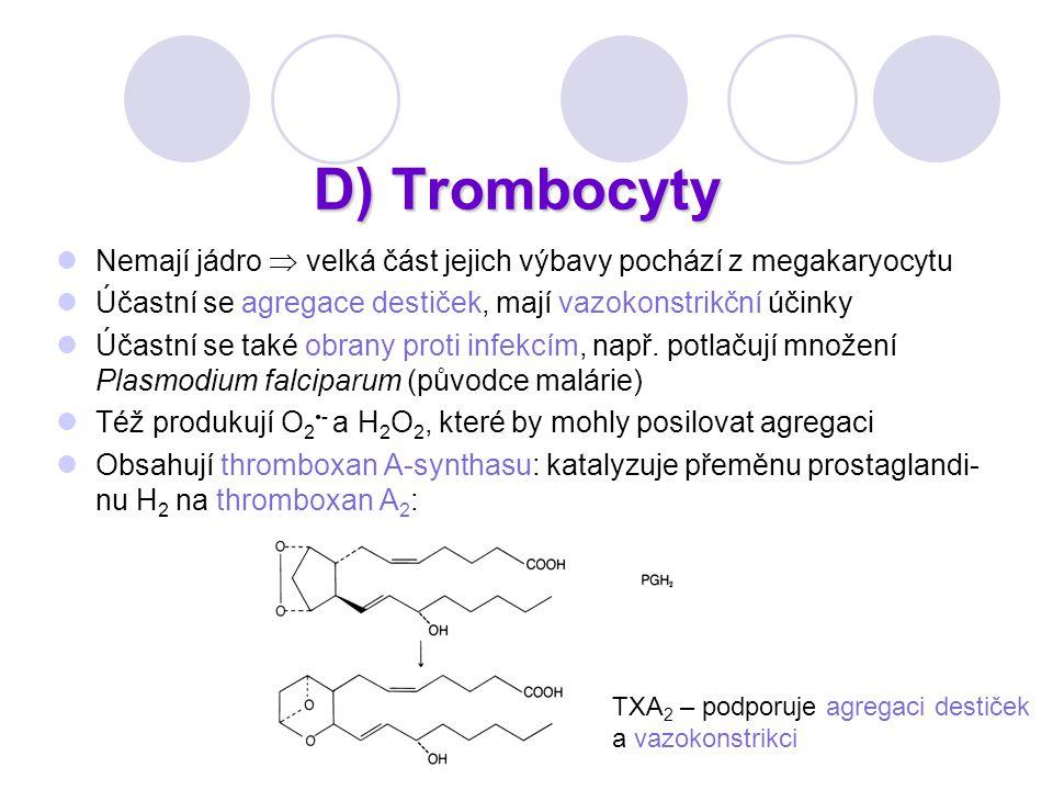D) Trombocyty Nemají jádro  velká část jejich výbavy pochází z megakaryocytu Účastní se agregace destiček, mají vazokonstrikční účinky Účastní se tak