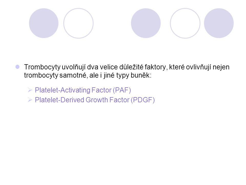 Trombocyty uvolňují dva velice důležité faktory, které ovlivňují nejen trombocyty samotné, ale i jiné typy buněk:  Platelet-Activating Factor (PAF) 