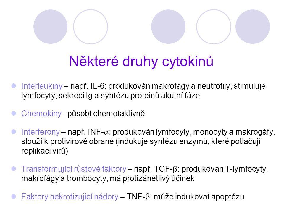 Některé druhy cytokinů Interleukiny – např. IL-6: produkován makrofágy a neutrofily, stimuluje lymfocyty, sekreci Ig a syntézu proteinů akutní fáze Ch