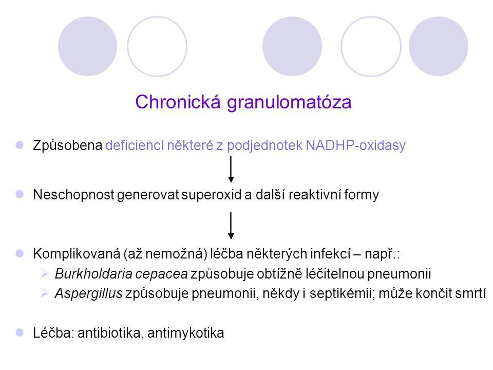 Chronická granulomatóza Způsobena deficiencí některé z podjednotek NADHP-oxidasy Neschopnost generovat superoxid a další reaktivní formy Komplikovaná
