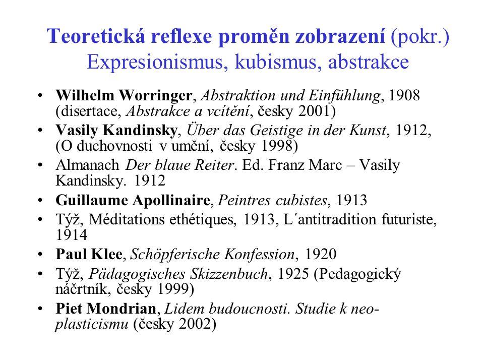 Teoretická reflexe proměn zobrazení (pokr.) Expresionismus, kubismus, abstrakce Wilhelm Worringer, Abstraktion und Einfühlung, 1908 (disertace, Abstra