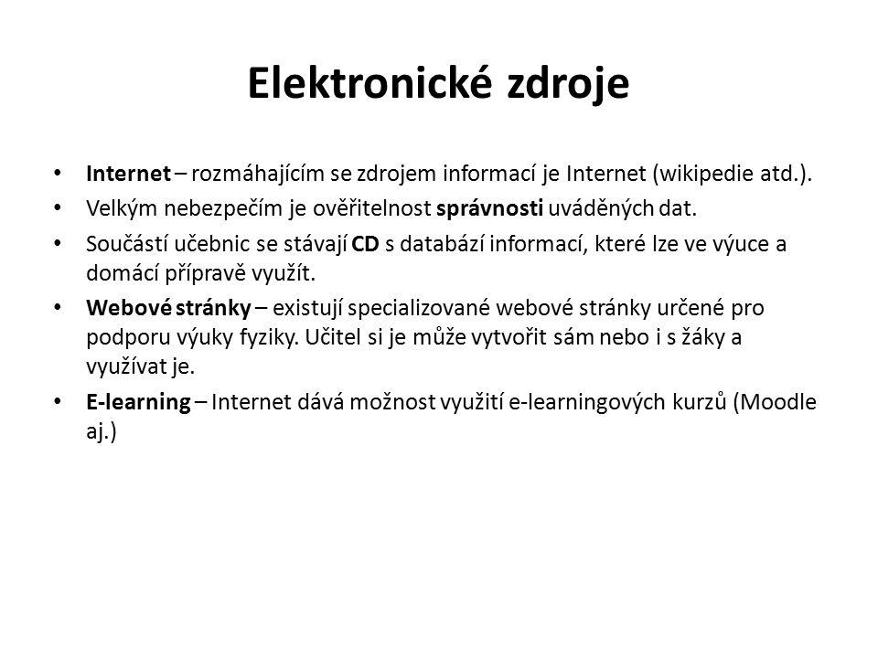 Elektronické zdroje Internet – rozmáhajícím se zdrojem informací je Internet (wikipedie atd.). Velkým nebezpečím je ověřitelnost správnosti uváděných