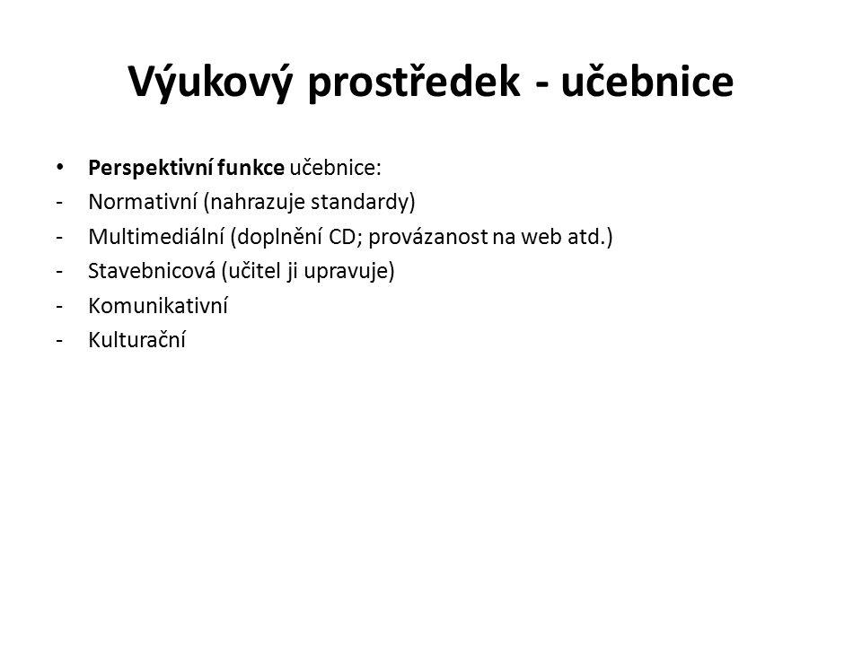 Výukový prostředek - učebnice Perspektivní funkce učebnice: -Normativní (nahrazuje standardy) -Multimediální (doplnění CD; provázanost na web atd.) -S