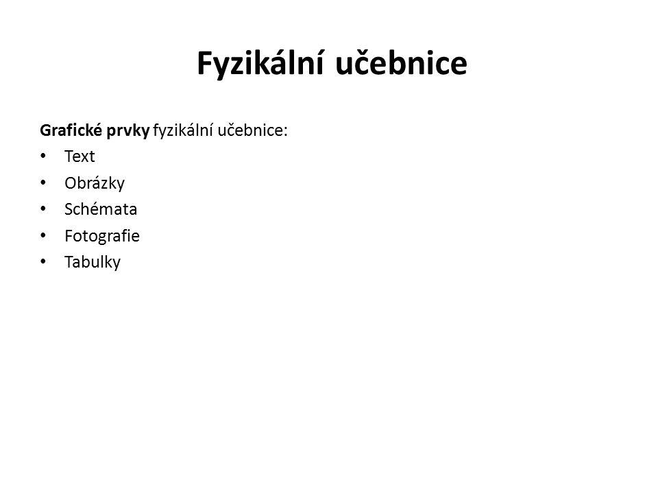 Fyzikální učebnice Grafické prvky fyzikální učebnice: Text Obrázky Schémata Fotografie Tabulky