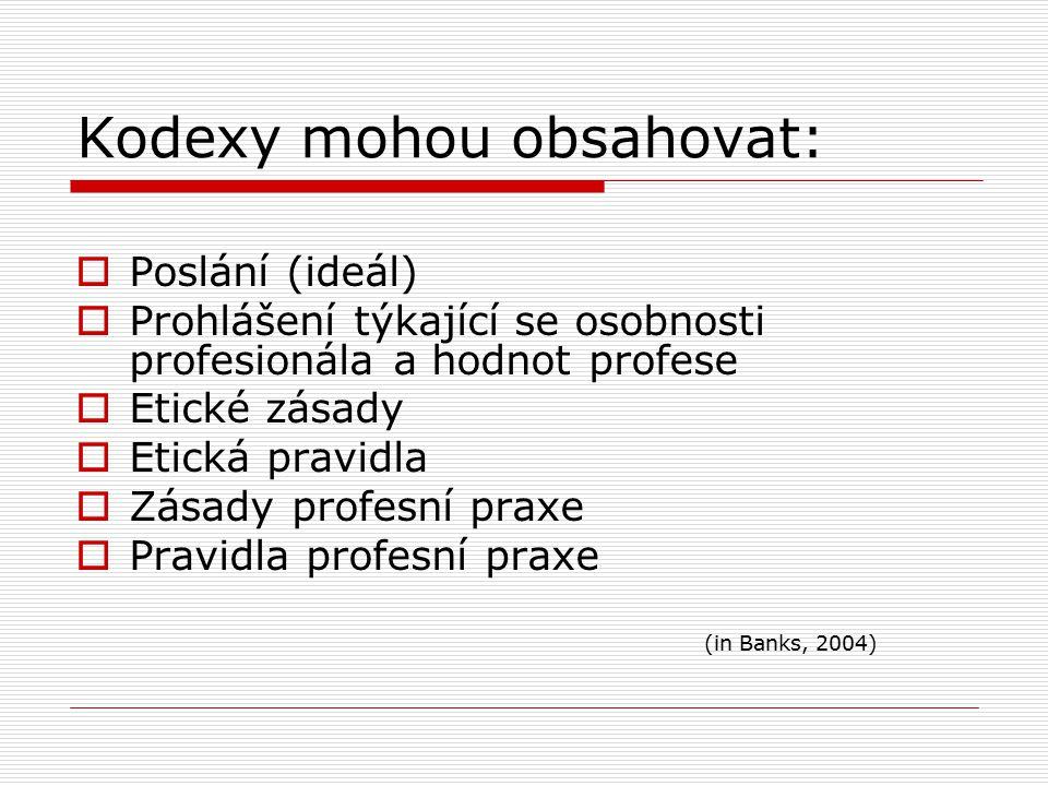 Kodexy mohou obsahovat:  Poslání (ideál)  Prohlášení týkající se osobnosti profesionála a hodnot profese  Etické zásady  Etická pravidla  Zásady profesní praxe  Pravidla profesní praxe (in Banks, 2004)