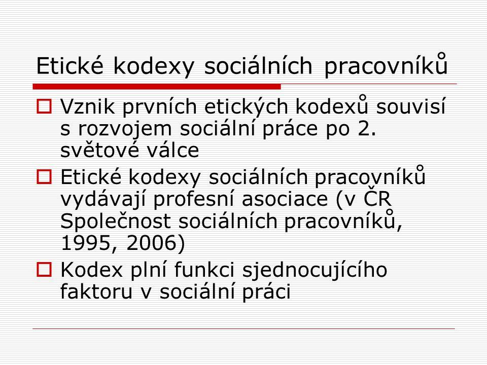 Etické kodexy sociálních pracovníků  Vznik prvních etických kodexů souvisí s rozvojem sociální práce po 2.