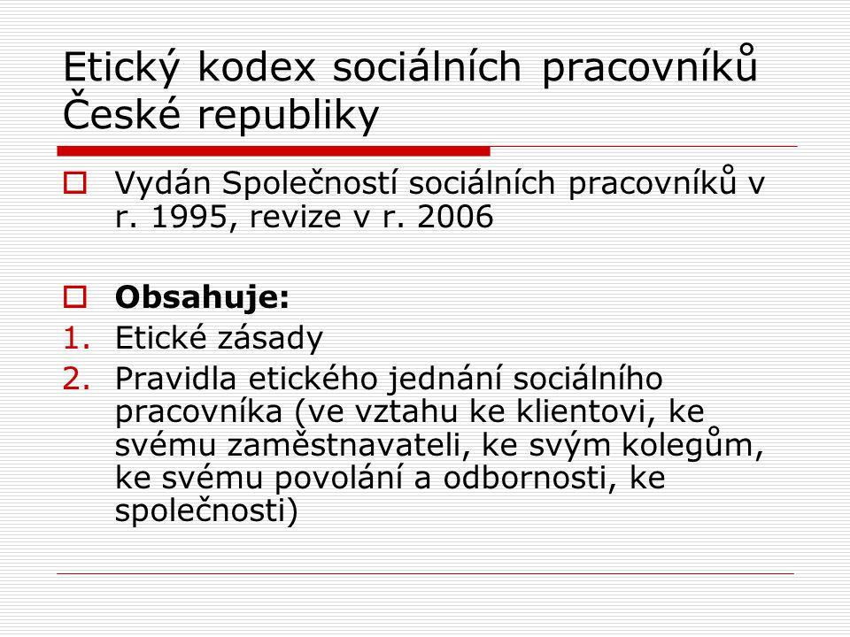 Etický kodex sociálních pracovníků České republiky  Vydán Společností sociálních pracovníků v r.