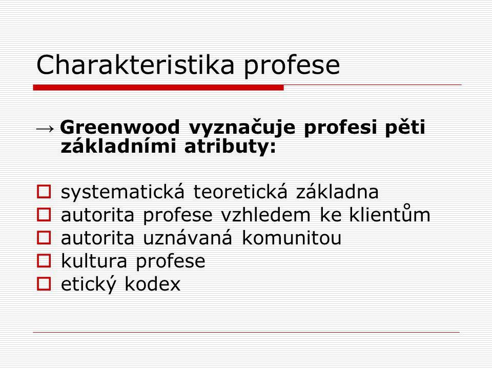 Charakteristika profese → Greenwood vyznačuje profesi pěti základními atributy:  systematická teoretická základna  autorita profese vzhledem ke klientům  autorita uznávaná komunitou  kultura profese  etický kodex