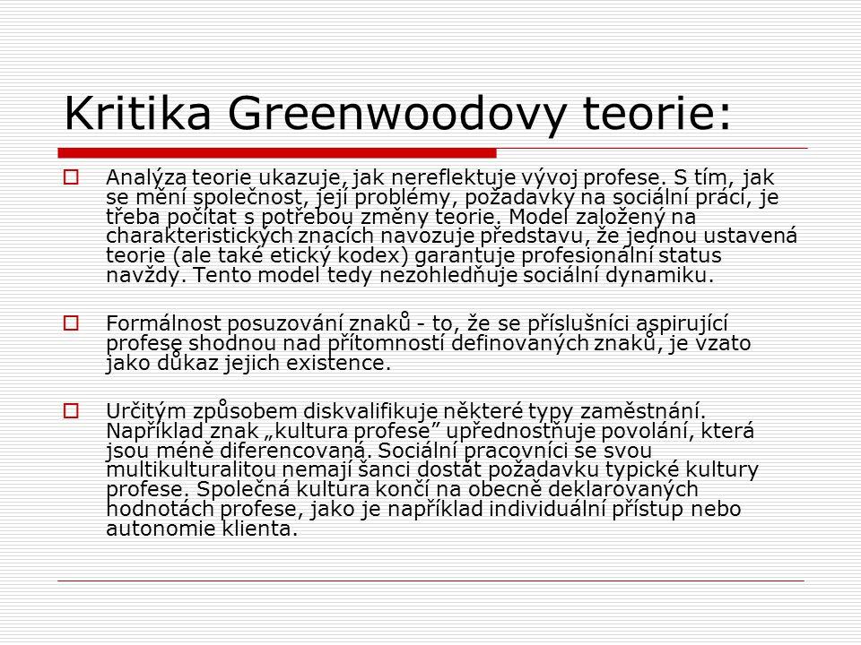 Kritika Greenwoodovy teorie:  Analýza teorie ukazuje, jak nereflektuje vývoj profese.