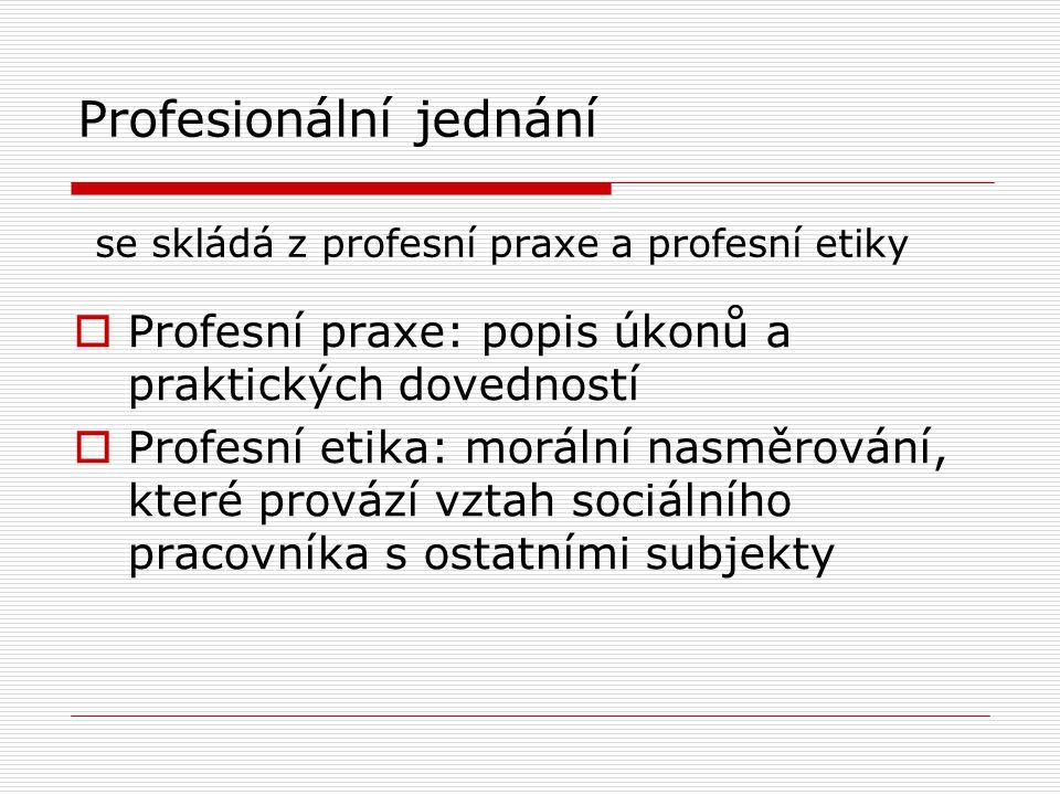 Profesionální jednání se skládá z profesní praxe a profesní etiky  Profesní praxe: popis úkonů a praktických dovedností  Profesní etika: morální nasměrování, které provází vztah sociálního pracovníka s ostatními subjekty