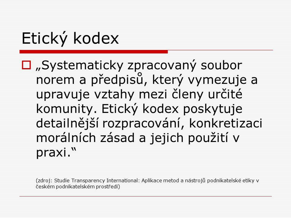 Etický kodex  Reguluje chování členů profese  Formální (psaný) x neformální (nepsaný)  Formálním kodexem si profese zajišťuje důvěru komunity  Poskytuje mimo jiné i souhrnné poučení v oblasti etických dilemat a chrání profesi před vnějším usměrňováním  Kodexy se v průběhu času mění.