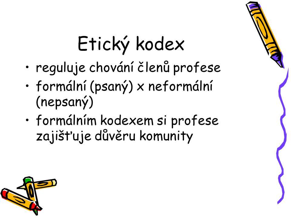 Etický kodex reguluje chování členů profese formální (psaný) x neformální (nepsaný) formálním kodexem si profese zajišťuje důvěru komunity