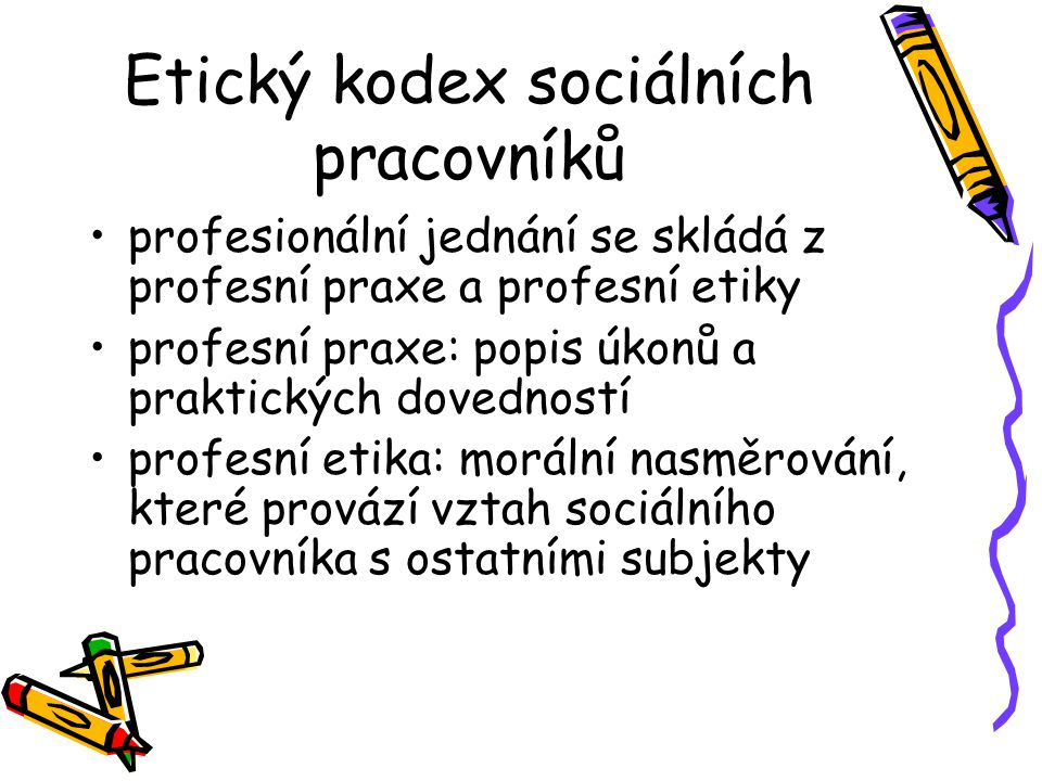 Etický kodex sociálních pracovníků profesionální jednání se skládá z profesní praxe a profesní etiky profesní praxe: popis úkonů a praktických dovedností profesní etika: morální nasměrování, které provází vztah sociálního pracovníka s ostatními subjekty