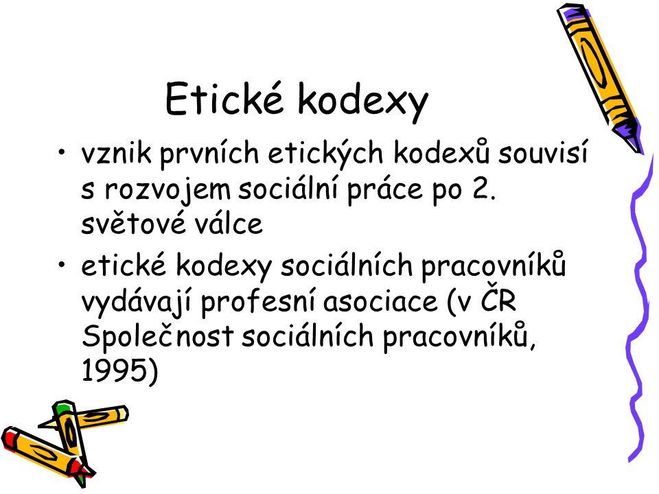 Etické kodexy vznik prvních etických kodexů souvisí s rozvojem sociální práce po 2.