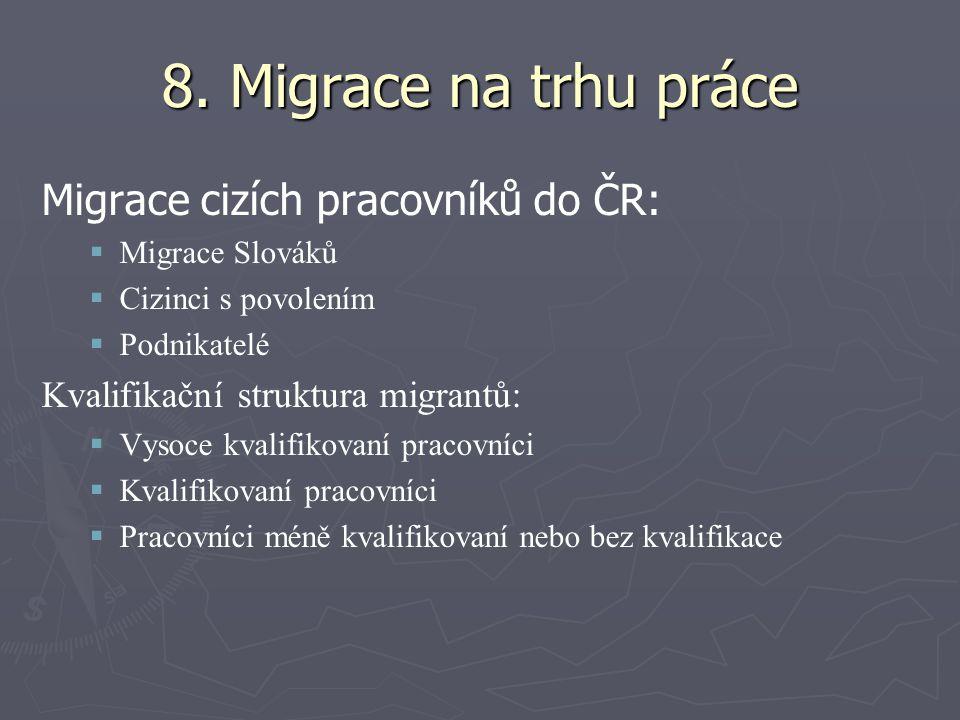 8. Migrace na trhu práce Migrace cizích pracovníků do ČR:   Migrace Slováků   Cizinci s povolením   Podnikatelé Kvalifikační struktura migrantů: