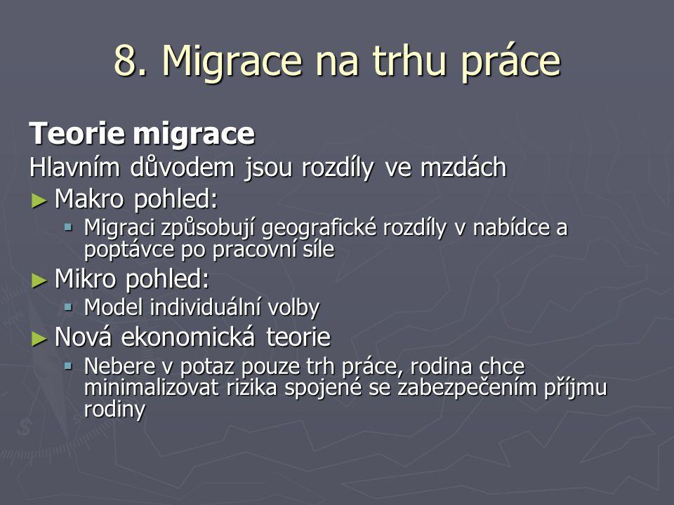 8. Migrace na trhu práce Teorie migrace Hlavním důvodem jsou rozdíly ve mzdách ► Makro pohled:  Migraci způsobují geografické rozdíly v nabídce a pop