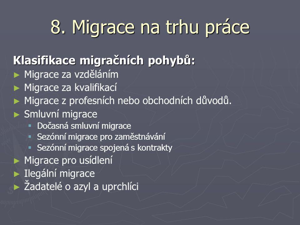 8. Migrace na trhu práce Klasifikace migračních pohybů: ► ► Migrace za vzděláním ► ► Migrace za kvalifikací ► ► Migrace z profesních nebo obchodních d