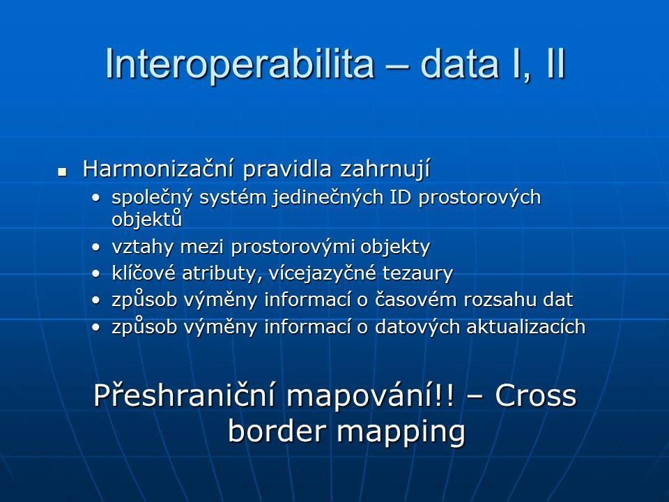 Interoperabilita – data I, II Harmonizační pravidla zahrnují Harmonizační pravidla zahrnují společný systém jedinečných ID prostorových objektůspolečný systém jedinečných ID prostorových objektů vztahy mezi prostorovými objektyvztahy mezi prostorovými objekty klíčové atributy, vícejazyčné tezauryklíčové atributy, vícejazyčné tezaury způsob výměny informací o časovém rozsahu datzpůsob výměny informací o časovém rozsahu dat způsob výměny informací o datových aktualizacíchzpůsob výměny informací o datových aktualizacích Přeshraniční mapování!.