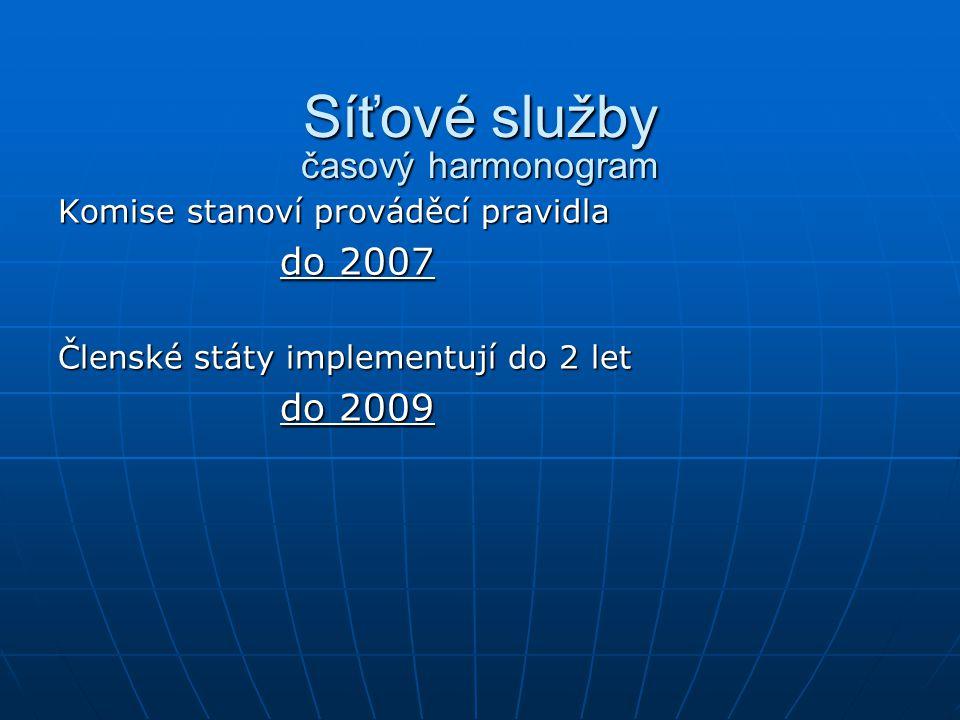 Síťové služby časový harmonogram Komise stanoví prováděcí pravidla do 2007 Členské státy implementují do 2 let do 2009