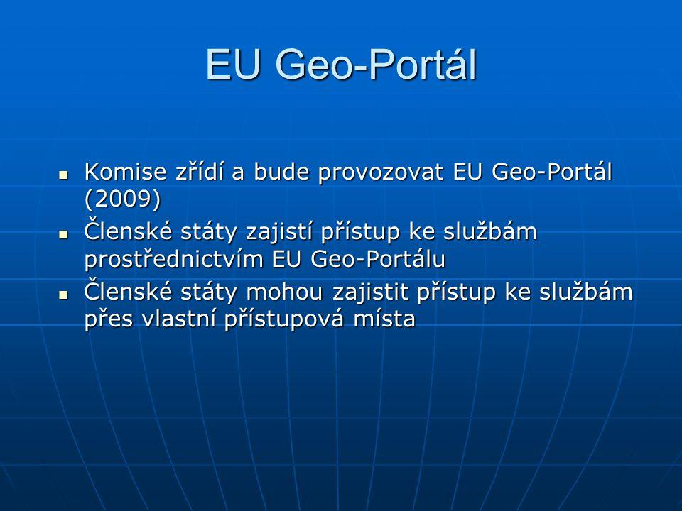 EU Geo-Portál Komise zřídí a bude provozovat EU Geo-Portál (2009) Komise zřídí a bude provozovat EU Geo-Portál (2009) Členské státy zajistí přístup ke službám prostřednictvím EU Geo-Portálu Členské státy zajistí přístup ke službám prostřednictvím EU Geo-Portálu Členské státy mohou zajistit přístup ke službám přes vlastní přístupová místa Členské státy mohou zajistit přístup ke službám přes vlastní přístupová místa