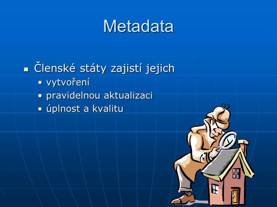 Metadata časový harmonogram Komise stanoví prováděcí pravidla pro metadata do 2007 (6/2005 Draft IR) Členské státy vytvoří metadata data I, II do 3 let(2010) data I, II do 3 let(2010) data III do 6 let(2013) data III do 6 let(2013)